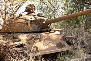 destoyed tank in South Sudan