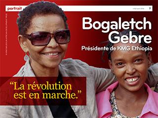"""Conférence-débat. Bogaletch Gebre. Rubrique """"Portrait"""" du magazine n'GO n°28 d'Echos Communication."""